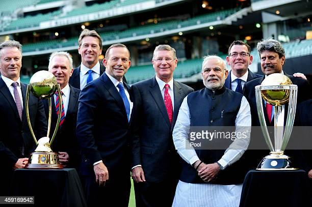 Australian cricketer Steve Waugh Alan Boarder and Glenn McGrath with Australian prime minister Tony Abbott Victorian premier Denis Napthine Indian...