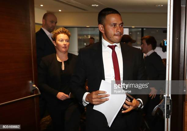 Australian Cricketer Usman Khawaja and Former Australian Cricketer Clea Smith attend a press conference after the ACA Emergency Executive meeting at...