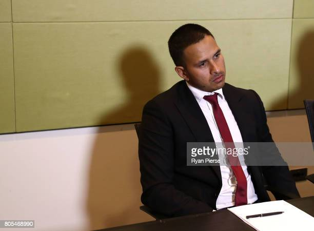 Australian Cricketer Usman Khawaja speaks during a press conference after the ACA Emergency Executive meeting at the Hilton Hotel on July 2 2017 in...