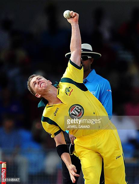 Australian cricketer Xavier Doherty delivers a ball during the first-of-five One Day International matches between Australia and West Indies at the...