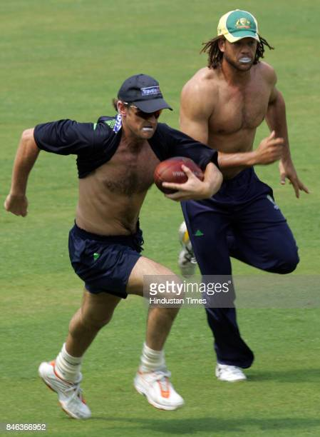Australian cricketers Adam Gilchrist and Andrew Symonds
