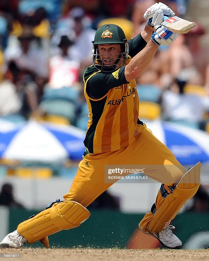 Australian cricketers David Hussey plays a shot during The ICC World Twenty20 Super 8 match between Australia and India at the Kensington Oval on May 7, 2010 in Bridgetown, Barbados. AFP PHOTO/Indranil MUKHERJEE