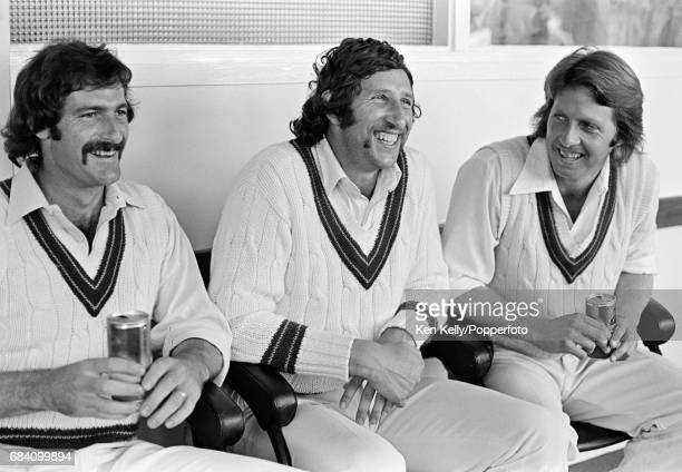 Australian cricketers Dennis Lillee Max Walker and Jeff Thomson relax after Australia win the 1st Test match between England and Australia at...