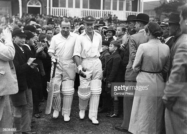 Australian cricketers Don Bradman and Bill Brown walking out to bat for the first Test match between England and Australia at Trent Bridge Nottingham...