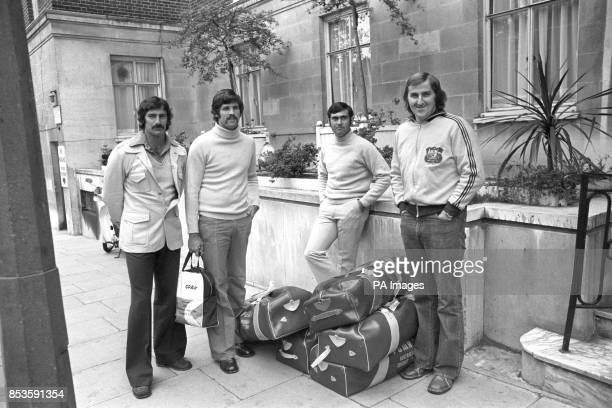 Australian cricketers leave their London hotel for nets practice at Lord's Dennis Lillee Alan Hurst Alan Turner and Gary Gilmour The team flew in...