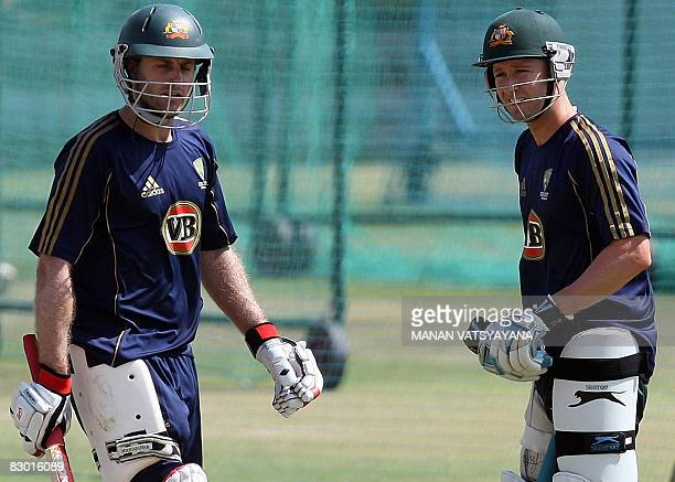 Australian cricketers Michael Clarke and Simon Katich prepare to bat during a training session in Jaipur on September 26 2008 India's cricket chiefs...