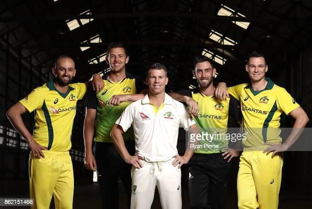Australian Cricketers Nathan Lyon Josh Hazlewood David Warner Glenn Maxwell and Peter Handscomb pose during the Australian Cricket Team ASICS Kit...