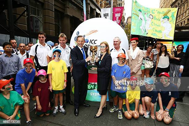 Australian cricketers Pat Cummins and Brett Lee The Australian Prime Minister Tony Abbott Minister for Sport and Recreation Gabrielle Upton and...