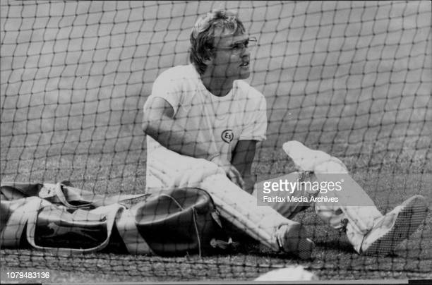 Australian Cricketers practice at the SCG Dirk Wellham pads up December 8 1981
