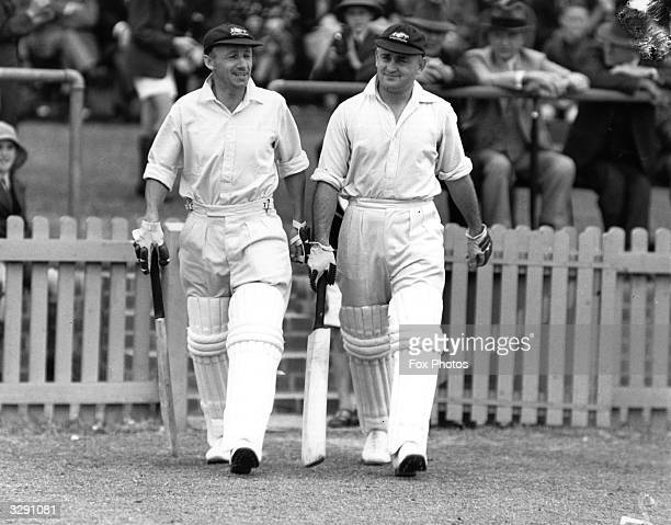 Australian cricketers Sir Don Bradman and Stan McCabe going out on the field to bat Sir Donald Bradman was the first cricketer to be knighted in 1949...