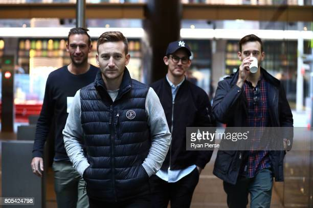 Australian Cricketers Trent Copeland Peter Nevill Nic Maddinson and Kurtis Patterson arrive for the ACA Emergency Executive meeting at the Hilton...