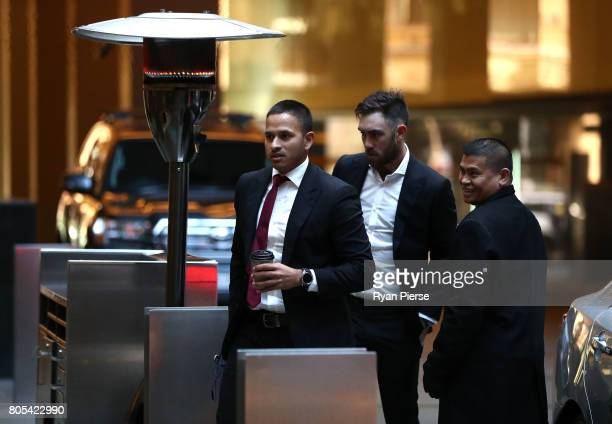 Australian cricketers Usman Khawaja and Glenn Maxwell arrive for the ACA Emergency Executive meeting at the Hilton Hotel on July 2 2017 in Sydney...