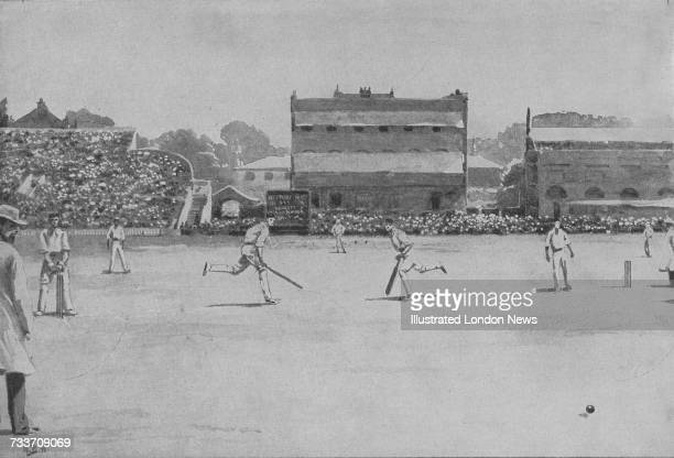 Australian cricketers Victor Trumper and Clem Hill making runs against England during the Second Test at Lord's London 15th17th June 1899...