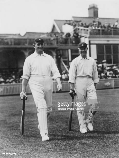 Australian cricketers Warwick Armstrong and Victor Trumper going out to bat in the First Test against England at Birmingham 27th May 1909