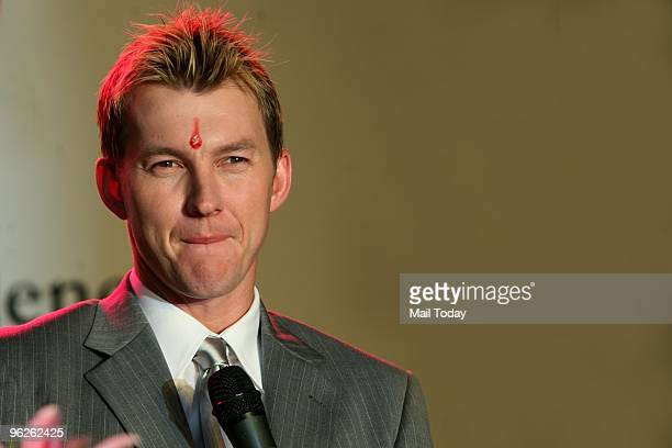 Australian crickter Brett Lee at a prmotional event in New Delhi on January 28 2010