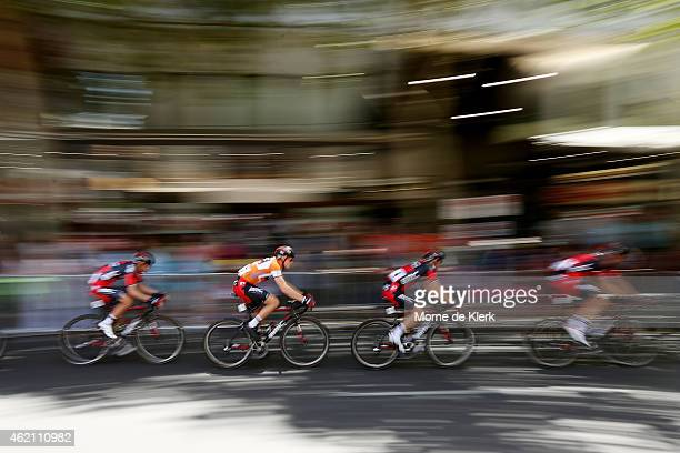 Australian cyclist and race leader Rohan Dennis of the BMC Racing team competes during Stage 6 of the 2015 Santos Tour Down Under on January 25 2015...