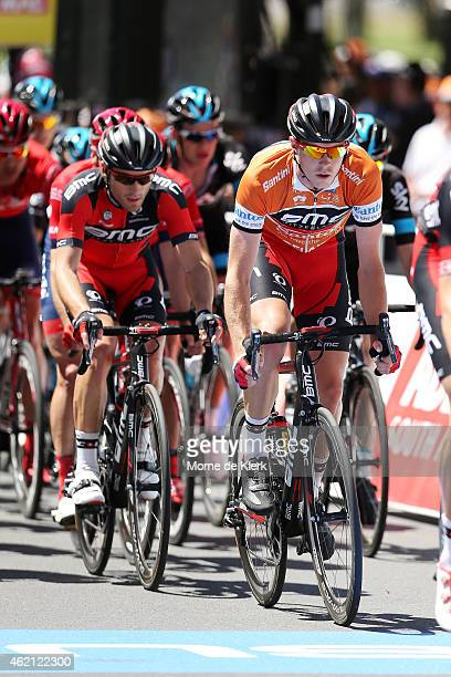Australian cyclist and race winner Rohan Dennis of the BMC Racing team competes in the Ochre Jersey after Stage 6 of the 2015 Santos Tour Down Under...