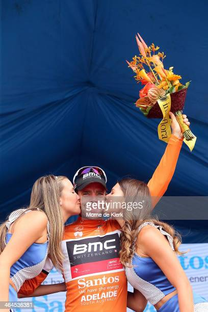 Australian cyclist Cadel Evans of the BMC Racing team celebrates after he is presented with the leaders Oche Jersey after Stage Three of the Tour...
