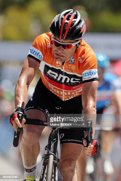 Australian cyclist Cadel Evans of the BMC Racing Team reacts after Stage Five of the Tour Down Under on January 25 2014 in Adelaide Australia