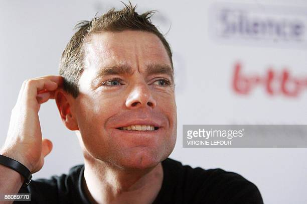 Australian cyclist Cadel Evans of the SilenceLotto team attends a press conference on April 21 2009 in Gosselies ahead of the 73rd edition of the...