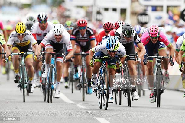 Australian cyclist Caleb Ewan of Orica GreenEDGE wins stage 1 of the 2016 Tour Down Under from Prospect to Lyndoch on January 19 2016 in Adelaide...