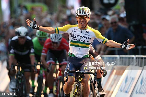 Australian cyclist Caleb Ewan of the Orica Scott team celebrates after winning the People's Choice Classic street race a preview race to the 2017...