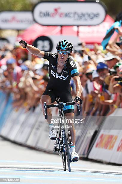 Australian cyclist Richie Porte of Team Sky celebrates after winning Stage 5 of the 2015 Santos Tour Down Under on January 24 2015 in Adelaide...