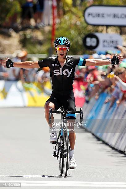 Australian cyclist Richie Porte of Team Sky celebrates after winning Stage Five of the Tour Down Under on January 25, 2014 in Adelaide, Australia.