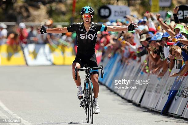 Australian cyclist Richie Porte of Team Sky celebrates after winning Stage Five of the Tour Down Under on January 25 2014 in Adelaide Australia