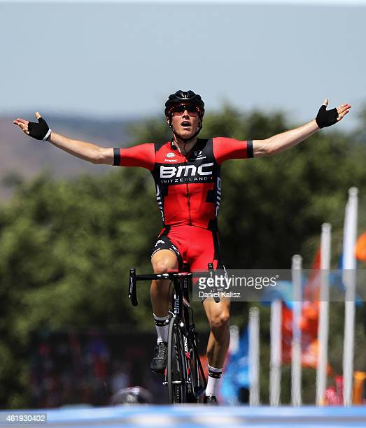 Australian cyclist Rohan Dennis of BMC Racing reacts after winning stage 3 of the 2015 Santos Tour Down Under on January 22, 2015 in Adelaide,...