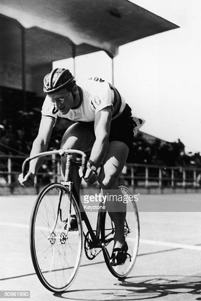 Australian cyclist Russell Mockridge wins the 1000 metre Time Trial at the Helsinki Olympics August 1952