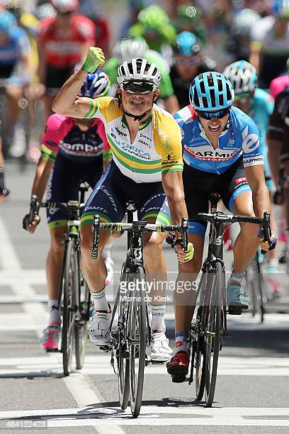 Australian cyclist Simon Gerrans of Orica GreenEDGE celebrates after winning stage one of the Tour Down Under on January 21, 2014 in Adelaide,...