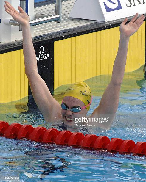 Australian Danni Miatke after winning the Women's 50 Meter Butterfly Final at the XI World Aquatic Championships in Montreal on July 30, 2005.