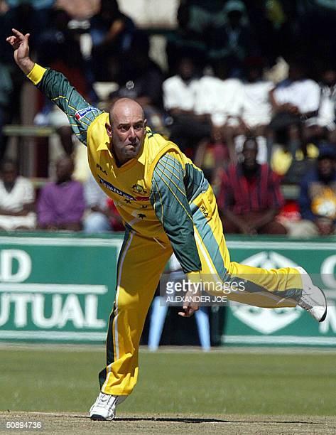 Australian Darren Lehmann in action against Zimbabwean batsman Mark Vermeulen during the firstt One Day International match Australia vs Zimbabwe 25...