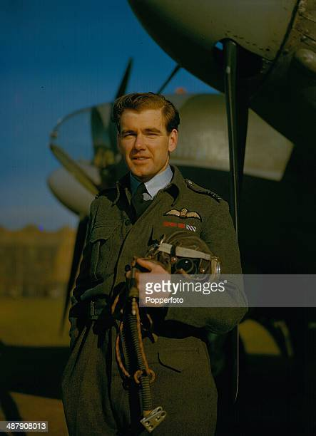 1943 Australian De Havilland Mosquito Wing Commander Hughie Idwal Edwards VC standing next to his Mosquito aircraft during World War Two February 1943