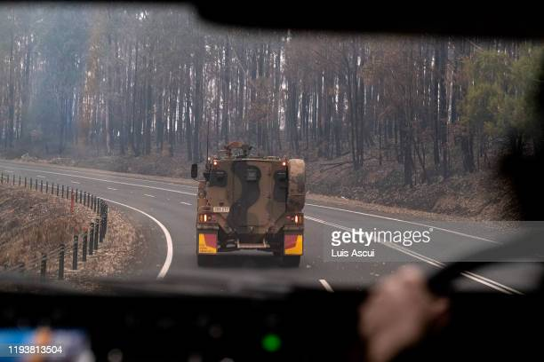 Australian Defence Force Armoured vehicle personnel carrier is seen on the prince Highway near Mallacoota on January 15 Australia The Princes Highway...