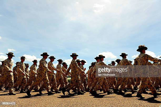 Australian Defence Force personnel march during the welcome home parade for Townsville troops returned home from recent operational service worldwide...