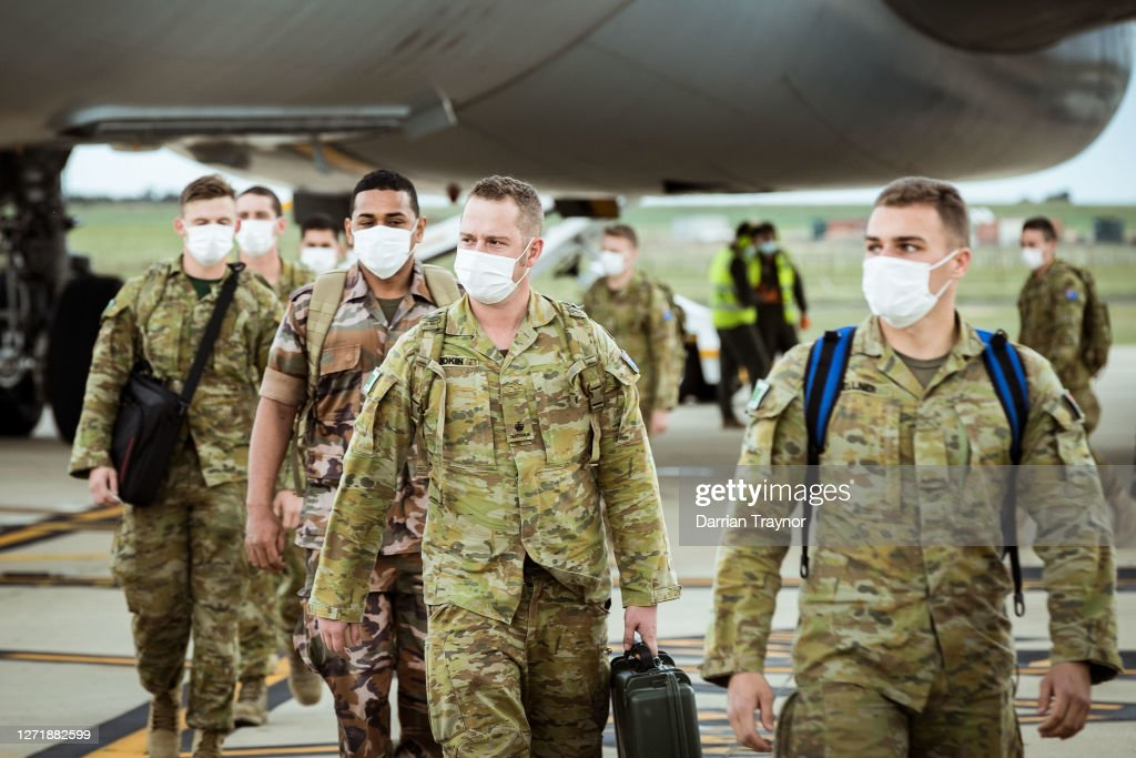 Australian Defence Force Troops Arrive In Victoria To Assist In COVID-19 Response : News Photo