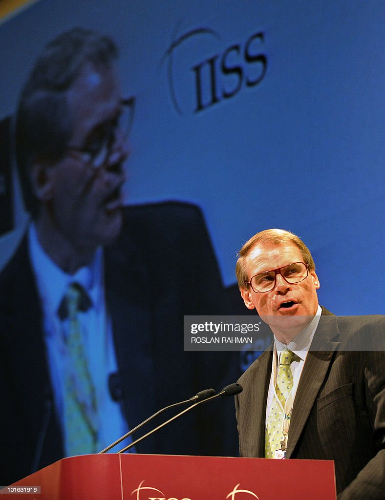 Australian Defence Minister John Faulkner speaks during the Asia-Pacific security forum in Singapore on June 5, 2010. The United States said it was weighing fresh steps to hold North Korea to account over the sinking of a South Korean warship, after Seoul appealed for UN intervention.