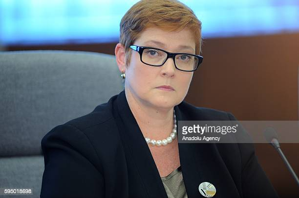 Australian Defense Minister Marise Payne meets Japanese Defense Minister Tomomi Inada at the Ministry of Defense in Tokyo, Japan on August 25, 2016....