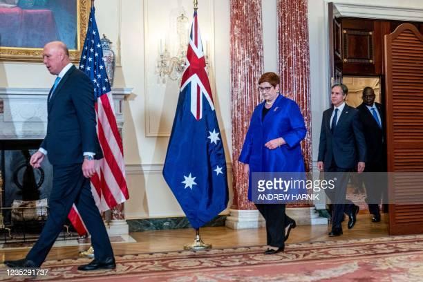 Australian Defense Minister Peter Dutton, Foreign Minister Marise Payne, US Secretary of State Antony Blinken and Defense Secretary Lloyd Austin...