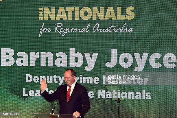 Australian Deputy Prime Minister and leader of the National Party Barnaby Joyce speaks at the Coalition Campaign Launch in Sydney on June 26 2016...