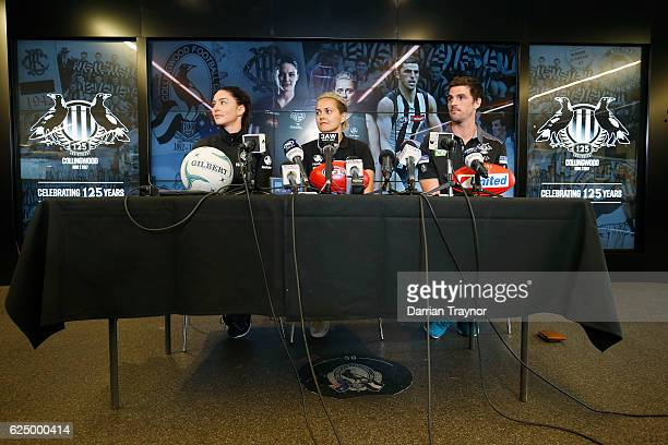 Australian Diamonds Captain Sharni Layton AFLW marquee player Moana Hope and Scott Pendlebury speak to the media during a Collingwood Magpies AFL...