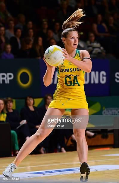 Australian Diamonds Susan Pettitt during the 2017 Constellation Cup match between the Australia Diamonds and New Zealand Silver Ferns at Titanium...