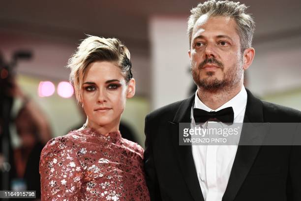 Australian director Benedict Andrews and US actress Kristen Stewart arrive for the screening of the film Seberg presented out of competition on...