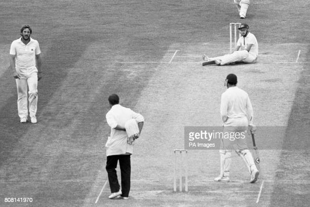 Australian Dirk Wellham ends up on his bottom avoiding a bouncer from England's Ian Botham At the time Wellham was on 99 during his debut Test and...
