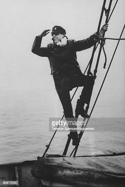 Australian disc jockey Colin Nicol aboard pirate radio station Radio Caroline's ship 'Mi Amigo'