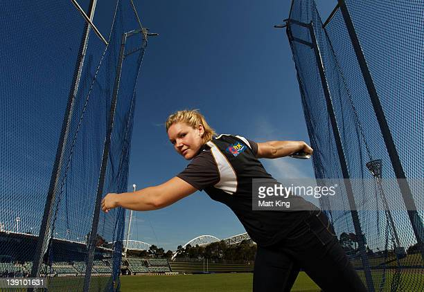 Australian discus thrower Dani Samuels poses during an Athletics Australia press conference ahead of the Sydney Track Classic at Sydney Olympic Park...