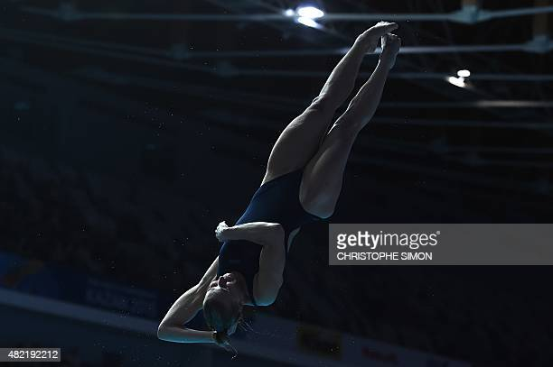 Australian diver Maddison Keeney competes in the Women's 1m Springboard final diving event at the 2015 FINA World Championships in Kazan on July 28...