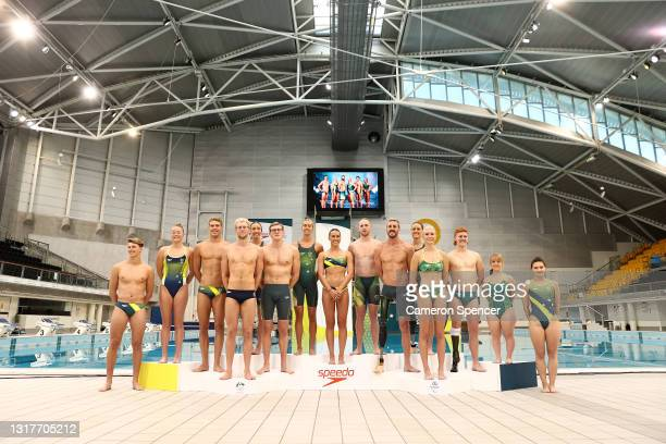 Australian divers and swimmers pose during the Australian 2020 Tokyo Olympic Games Swimming Uniform Launch at Sydney Olympic Park Aquatic Centre on...
